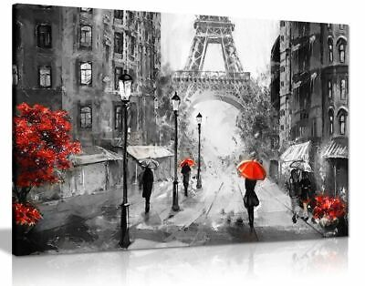 Black White Red Oil Painting Paris Eiffel Tower Canvas Wall Art Picture Print