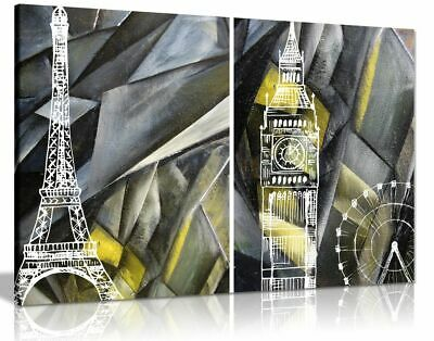 Abstract Black & White and Yellow London Paris Canvas Wall Art Picture Print