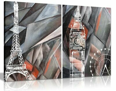 Abstract Black & White and Red London Paris Canvas Wall Art Picture Print