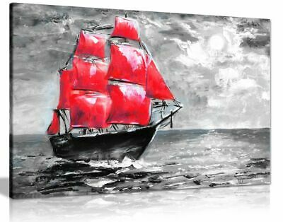 Ship on Ocean Painting Black White Red Canvas Wall Art Picture Print