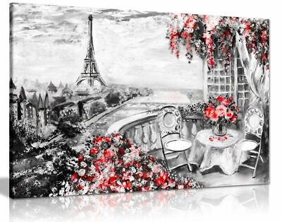 Abstract Floral Summer Paris Black & White Red Canvas Wall Art Picture Print