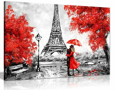 Paris Oil Painting Eiffel Tower Red Umbrella Canvas Wall Art Picture Print