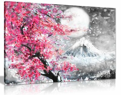 Pink Black & White Japanese Cherry Blossom Canvas Wall Art Picture Print