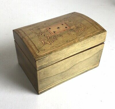 Vintage Inlaid Wooden Playing Card Box Hinged