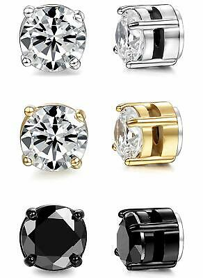 9fb042676 ORAZIO 3 Pairs Stainless Steel Magnetic Stud Earrings for Womens Mens Non  Pierci