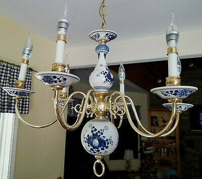 Vintage Holland Porcelain Brass Chandelier Blue & White Romantic 6 Light Arms