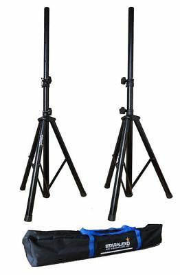 Pair Staraudio Tripod DJ PA Speaker Stands & Carrying Case Black Color SSS-018