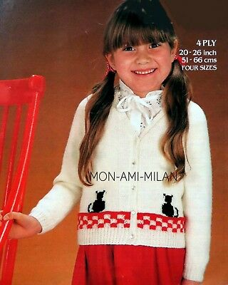 Knitting pattern cotton 4ply Children Girl Cardigan 1-11 years*COPY pattern only