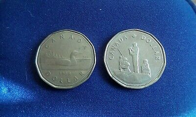 2 x Canadian dollar coins dated 1989 and 1995