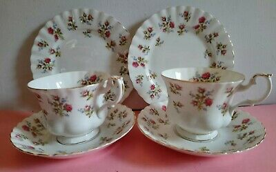 Royal Albert - Winsome - Pair Of Tea Trios, Pink Roses. Lovely Condition !!