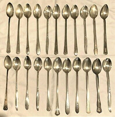 LOT of 22 ANTIQUE VINTAGE Arts & Crafts Grade Silverplate ICED TEA SPOONS