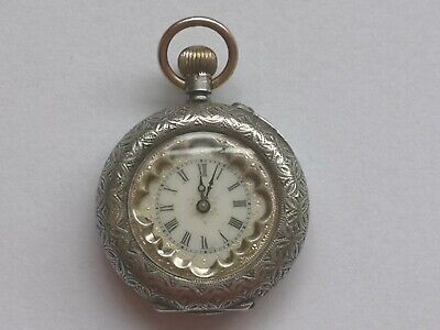 4648b7e07 Excellent Condition Ladies Antique Swiss Silver Pocket Watch - Keeps Good  Time