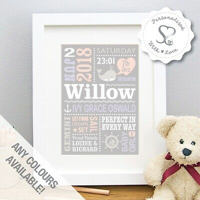 Personalised Baby Print Birth Details Pic Nursery Wall Art Gift Nautical Whale