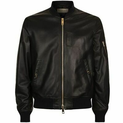 39a57e8f9 Authentic New BURBERRY Men's Black RALLEIGH Lamb Leather Bomber Jacket L  $1,595