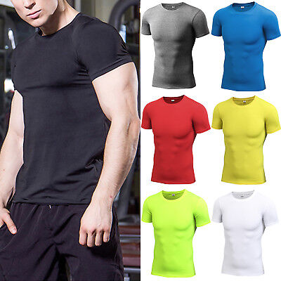 47d52e6f86f60 Men Short Sleeve T-shirt Sport Compression Quick Dry Fitness Base Layer Gym  Tops