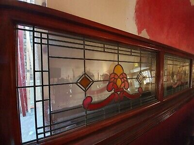 stained glass leaded windows 1930's deco 5 in total