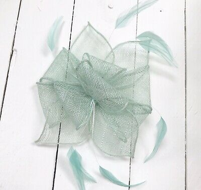 Sage Green Feather Fascinator Hair Clip or Hairband Ladies Day Races Wedding