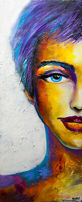 Colorful woman portrait abstract painting modern palette knife painting Osnat