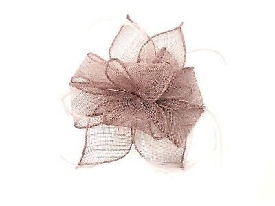Dusky Pink Feather Fascinator Hair Clip or Band Races Wedding