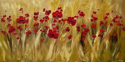 Modern red poppies abstract painting textured GOLD Original fine art Osnat