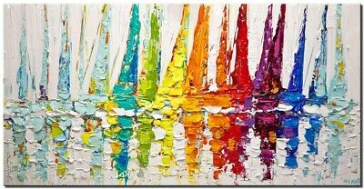 Colorful sailboats abstract painting thick texture palette knife painting Osnat