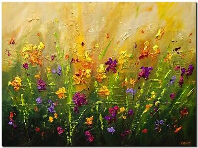 Colorful flowers abstract painting thick texture palette knife painting Osnat