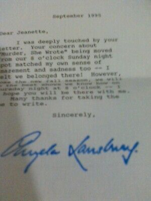 ANGELA LANSBURY 1995 Authentic Hand Signed and Typed Letter to a Fan