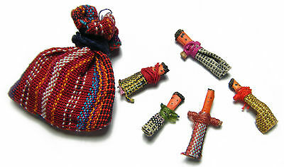 Guatemalan WORRY DOLLS - 6 Dolls with Multi Color Pouch in Packaging - Anxiety