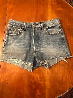 7dc41ff3ad5 Levis 501 Womens Size 28 Button Fly High Rise Cut Off Frayed Denim Jean  Shorts