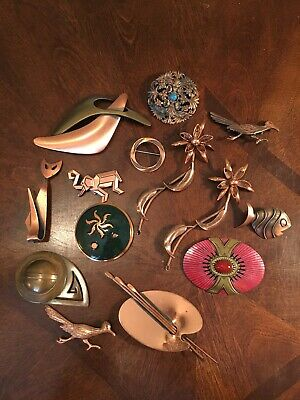 Lot of 14 Vintage Copper/Copper Tone/Brass Brooch Pins Costume Jewelry Renoir