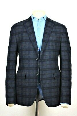 ef274bf90 Recent 40R Hugo Boss navy blue plaid virgin wool men sport coat blazer