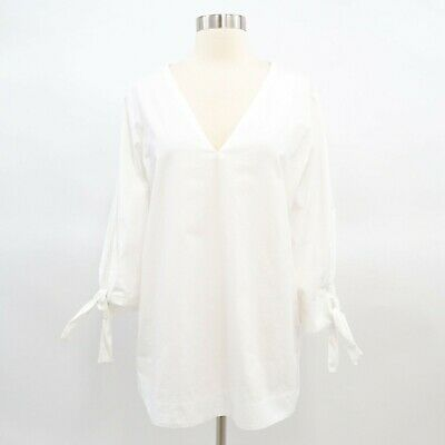 a5b65a16cea28b COS Blouse Tunic Top Shirt Womens Tie Sleeves White Sz 12 Cotton V-Neck