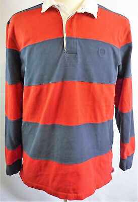 b12d8c7b43d Vintage CHAPS Mens Large Red and Blue Striped Rugby Polo Shirt Long Sleeve