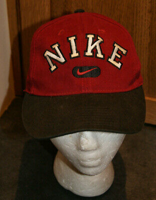 cbb744441 VINTAGE NIKE BASKETBALL Snap Back Hat Cap Black Red Swoosh ...