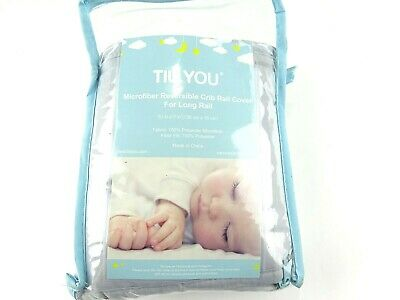 TILLYOU 1-Pack Padded Baby Crib Rail Cover Protector Safe Teething Guard Wrap fo
