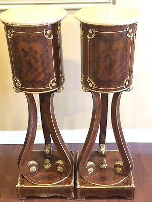 Pair Of Vintage Antique Tall French Bronze Pedestal Marble Top Column Staand