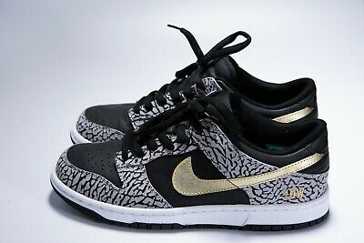 best website d2d6d a8f8d Nike ID Dunk Low Supreme Elephant Cement Print Custom Black Gold VNDS 2013