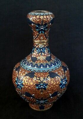 "Vintage Chinese large cloisonne vase, 10.5"" tall"