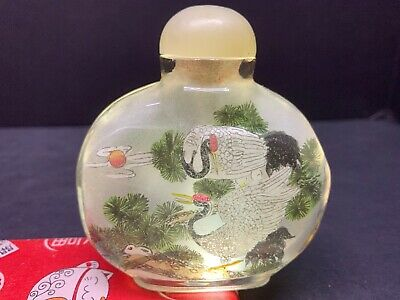 """Vtg Chinese Inside Painted Glass Snuff Bottle W/ Jade Top Lid 3.50"""" In Tall"""