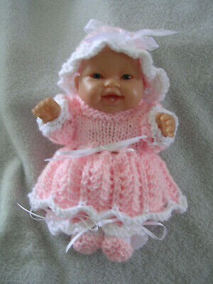"""Hand Knitted Doll Clothes For  8"""" Chubby Berenguer Doll Or Similar Size. Peach"""