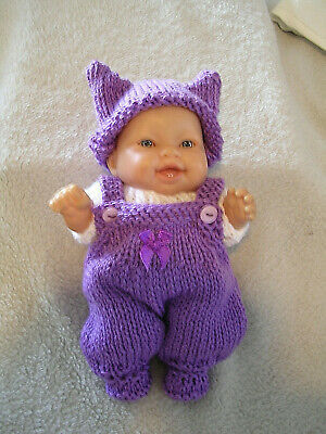 """Hand Knitted Doll Clothes Set For 8"""" Chubby Berenguer Doll Or Similar. Purple"""