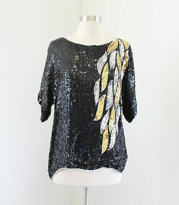 Vtg 80s Black Gold Silver Silk Beaded Sequin Evening Party Formal Top Blouse M
