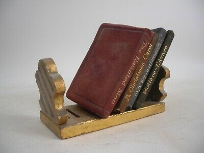 Set Minature Leather Books Gold Gilt Wood Painted Stand Italy Grand Tour Style