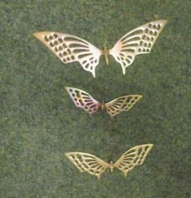 Lot of 3 Vintage Solid Brass Butterflies Home & Garden Wall Shelf Decor TONING