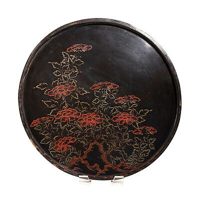 Antique Japanese Large Circular Lacquer Tray