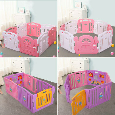 Baby Playpen Kids 6/8 Panel Safety Play Center Yard Home Indoor Outdoor Pen Pink