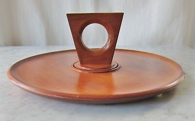Mid Century Modern Vintage Retro Wooden Serving Plate with Central Handle