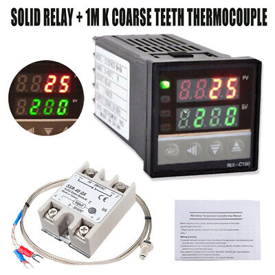 LCD PID Temperature Controller REX-C100 + Solid State Relay + K Thermocouple