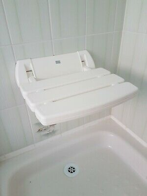 Provex Series 200 Folding Slatted White Shower Seat Wall Fixing