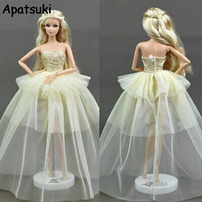 Beige Doll Dress For Barbie Doll Princess Wedding Dresses Party Gown Clothes Toy